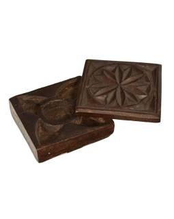 Krabička na tikov, antik, teakové drevo, ručne vyrezaná, 12x13x5cm