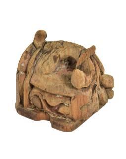 Antik svietnik, teak, vyrezávaný, 10x11x11cm
