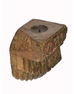 Antik svietnik z mangového dreva, 15x16x11cm