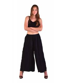 Dlhé thajskej nohavice, čierne, pružný pás, výšivka