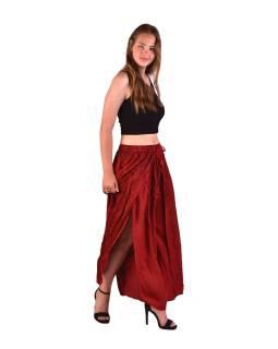 Dlhé thajskej nohavice, červené, pružný pás, výšivka