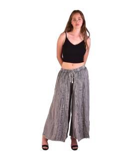 Dlhé thajskej nohavice, svetlo šedej, pružný pás, výšivka