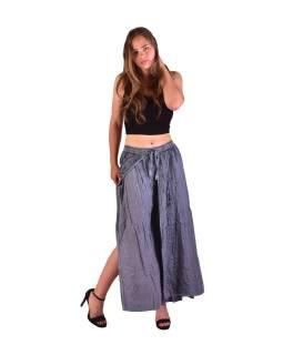 Dlhé thajskej nohavice, tmavo šedé, pružný pás, výšivka
