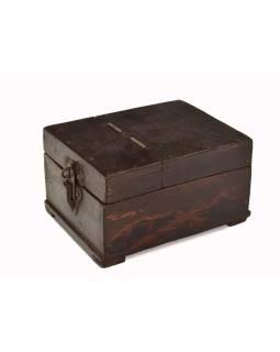 "Krabička so zrkadielkom ""Barber box"" z teakového dreva, antik, 14x19x11cm"
