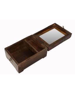 "Krabička so zrkadielkom ""Barber box"" z teakového dreva, antik, 16x22x13cm"
