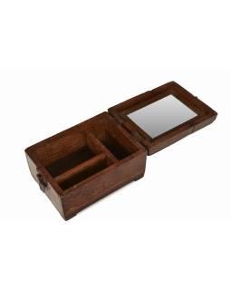 "Krabička so zrkadielkom ""Barber box"" z teakového dreva, antik, 15x20x12cm"