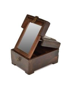 Šperkovnica so zrkadielkom z teakového dreva, antik, 16x20x11cm