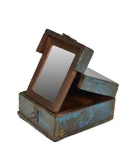 "Krabička so zrkadielkom ""Barber box"" z teakového dreva, antik, 14x17x9cm"