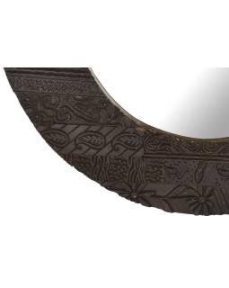 Zrkadlo v guľatom ráme z teakového dreva zdobené starými raznicami, 56x3x56cm
