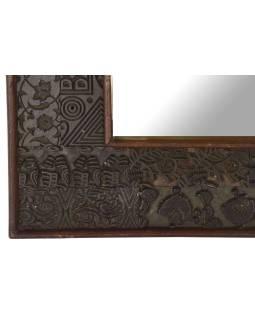 Zrkadlo v ráme z teakového dreva zdobené starými raznicami, 55x4x55cm