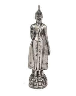 Narodeninový Budha, pondelok, strieborná patina, 20cm