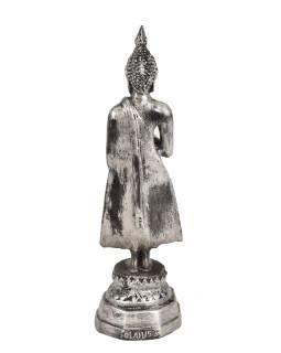 Narodeninový Budha, piatok, živice, strieborná patina, 25cm