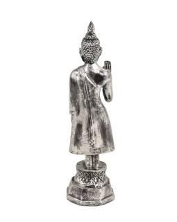 Narodeninový Budha, pondelok, živice, strieborná patina, 30cm