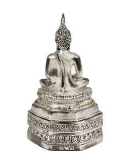 Narodeninový Budha, štvrtok, živice, strieborná patina, 30cm
