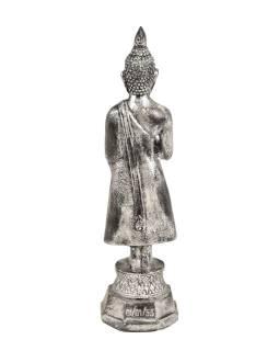 Narodeninový Budha, piatok, živice, strieborná patina, 30cm
