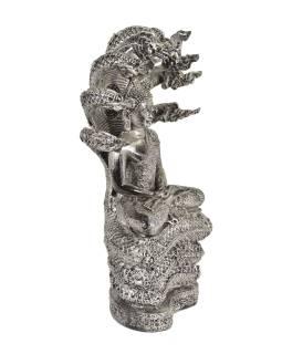 Narodeninový Budha, sobota, živice, strieborná patina, 30cm