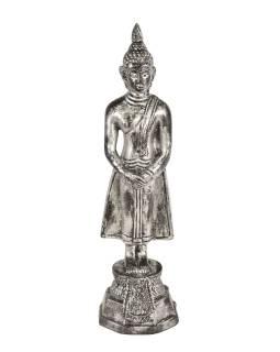 Narodeninový Budha, nedeľa, živice, strieborná patina, 30cm