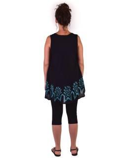 Letný čierno-modrá blúzka / šaty, ručné výšivka, bez rukávu