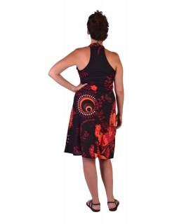 """Šaty, trojštvrťové, """"Flower Design"""", čierno-červené, bez rukávu"""