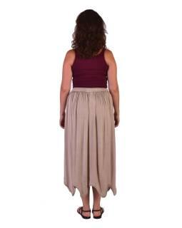Dlhá sukňa s výšivkou, pružný pás, béžová
