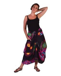 "Dlhá čierna balónová sukňa ""Flower Mandala"" s vreckami"