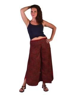 Pohodlné voľné nohavice, široké nohavice, ružové s drobným paisley potlačou