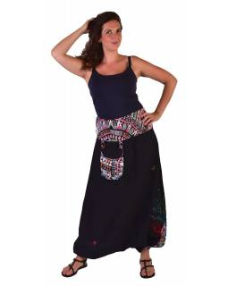 "Čierne turecké nohavice, ""Tree design"", farebná výšivka, kapsička, bobbin"