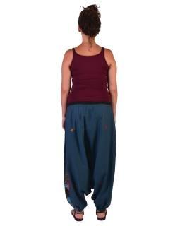 """Petrolejové turecké nohavice, """"Tree design"""", farebná výšivka, kapsička, bobbin"""