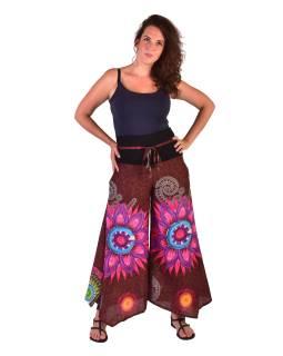 "Hnedé zvonové nohavice s vysokým pásom, ""Mandala design"""