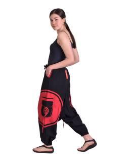 Dlhé turecké nohavice, čierno-červené, špirála, vrecká, pružný pás
