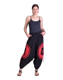 Dlhé turecké unisex nohavice, čierno-červené, vrecká, pružný pás