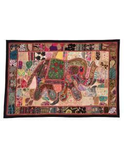 Patchworková tapisérie z Rajastan, ručné práce, slon, 153x104cm