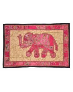 Patchworková tapisérie z Rajastan, ručné práce, slon, 151x106cm