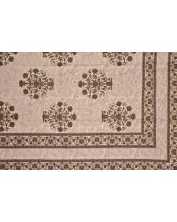 Prikrývka na posteľ s tradičným Indickým vzorom, hnedý, 210x146cm