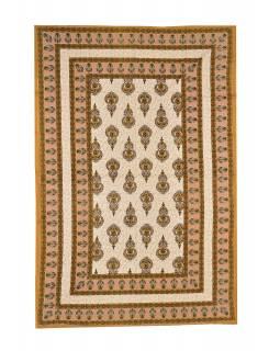 Prikrývka na posteľ s tradičným Indickým vzorom, 210x146cm