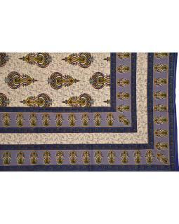 Prikrývka na posteľ s tradičným Indickým vzorom, modrý, 210x146cm
