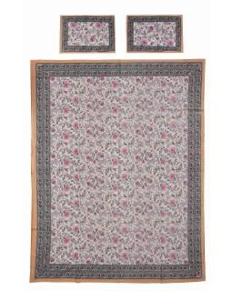 Prikrývka na posteľ a dva obliečky na vankúše s potlačou kvetín, béžový, 216x260cm
