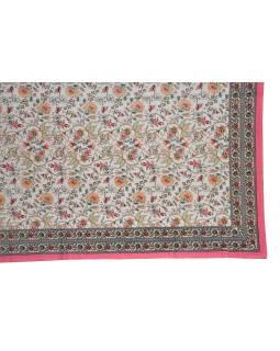 Prikrývka na posteľ a dva obliečky na vankúše s potlačou kvetín, ružový, 216x260cm