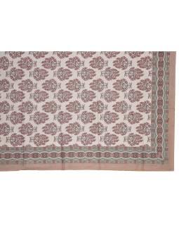 Prikrývka na posteľ a dva obliečky na vankúše s potlačou kvetín, hnedý, 216x260cm