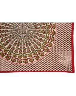 Prikrývka na posteľ a dva obliečky na vankúše s mandalou, červený, 216x260cm
