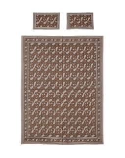 Prikrývka na posteľ a dva obliečky na vankúše s potlačou paisley, hnedý, 216x260cm