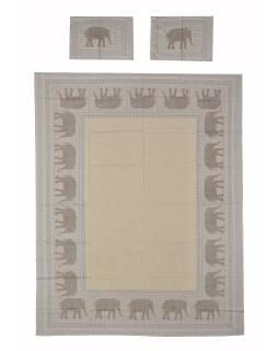 Prikrývka na posteľ a dva obliečky na vankúše s potlačou slonov, šedý, 216x260cm