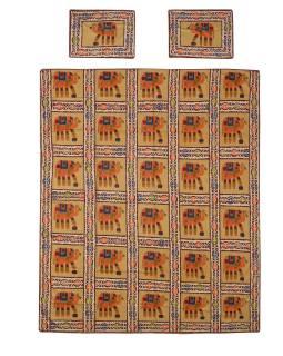 Prikrývka na posteľ a dva obliečky na vankúše s potlačou slonov, 216x260cm