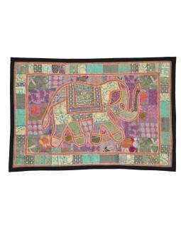 Patchworková tapisérie z Rajastan, ručné práce, slon, 152x106cm