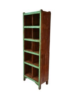 Knižnica z teakového dreva, zelená patina, 62x35x180cm