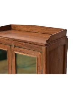 Presklená skrinka z teakového dreva, 75x37x114cm