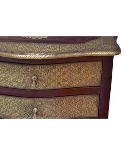 Komoda z palisandrového dreva zdobená mosadzným kovaním, 70x40x75cm