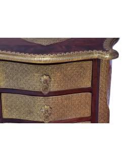 Komoda z palisandrového dreva zdobená mosadzným kovaním, 60x40x76cm