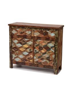 Komoda z teakového dreva, vykladanie farebnú intarzií, 92x35x80cm