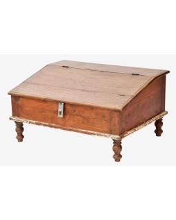 Starý Kupecký stolík z teakového dreva, 69x53x37cm